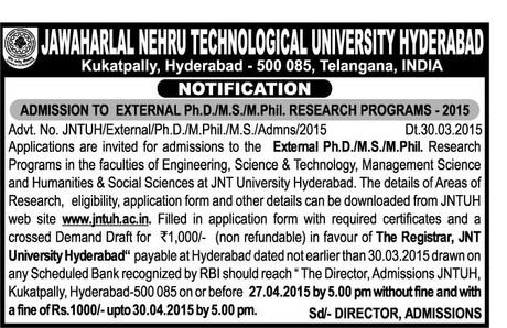 JNTU Hyderabad Exam Notifications2019