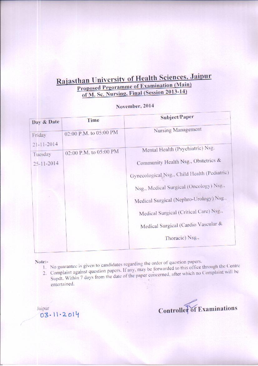 RUHS Exam Date Sheet