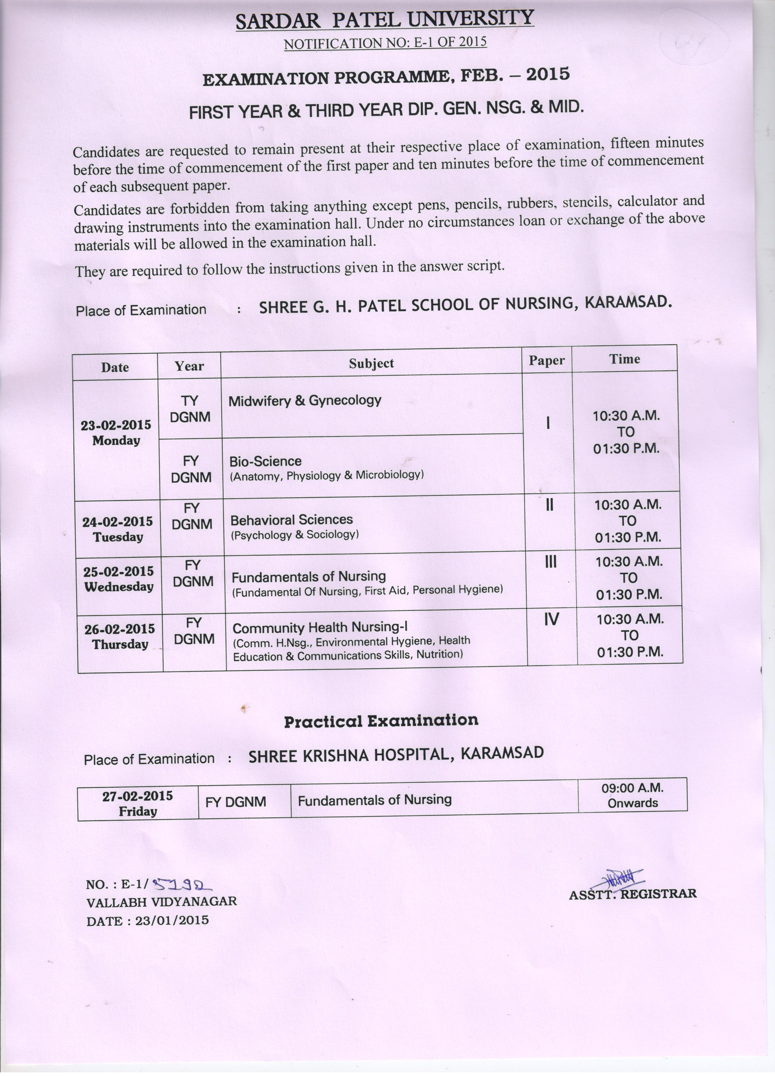 Sardar Patel University Exam Time Tables 2019